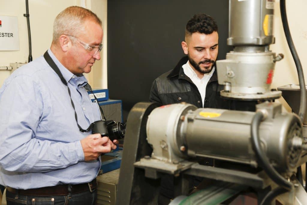 Jonathan Millington explaining Disc Magnetic Separator